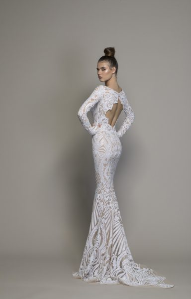 Long Sleeve All Over Lace Sequin Sheath Wedding Gown by Love by Pnina Tornai - Image 2