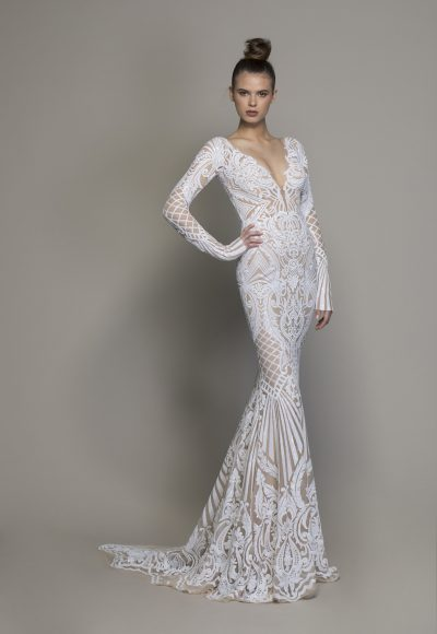 Long Sleeve All Over Lace Sequin Sheath Wedding Gown by Love by Pnina Tornai