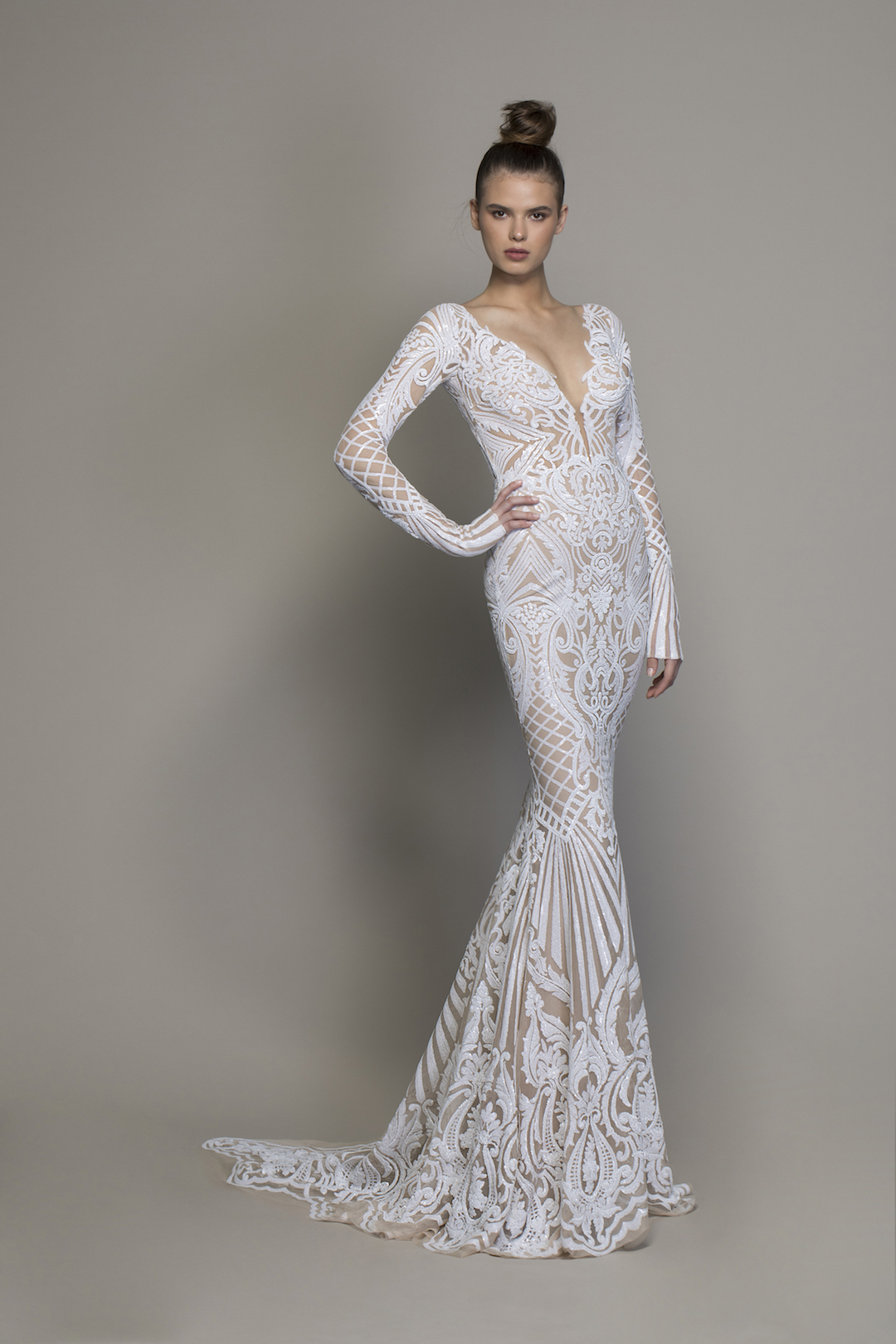 Long Sleeve All Over Lace Sequin Sheath Wedding Gown