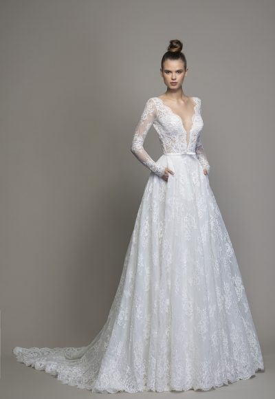 Long Sleeve Lace A-line Wedding Dress by Love by Pnina Tornai