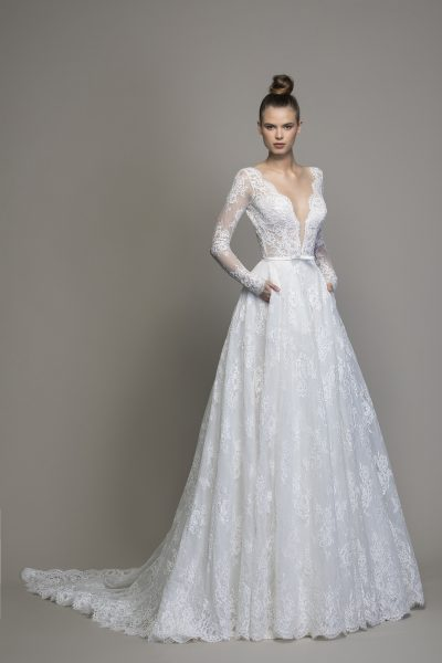 Long Sleeve Lace A-line Wedding Dress by Love by Pnina Tornai - Image 1