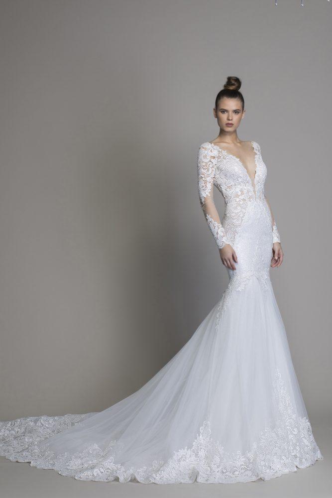 Long Sleeve Mermaid Wedding Dress by Love by Pnina Tornai - Image 1