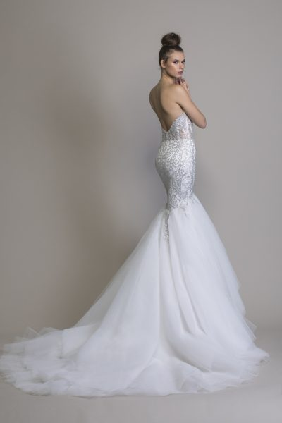 Mermaid Embellished Wedding Dress With Tulle Skirt by Love by Pnina Tornai - Image 2