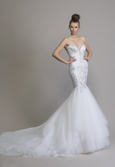 Mermaid Embellished Wedding Dress With Tulle Skirt by Love by Pnina Tornai