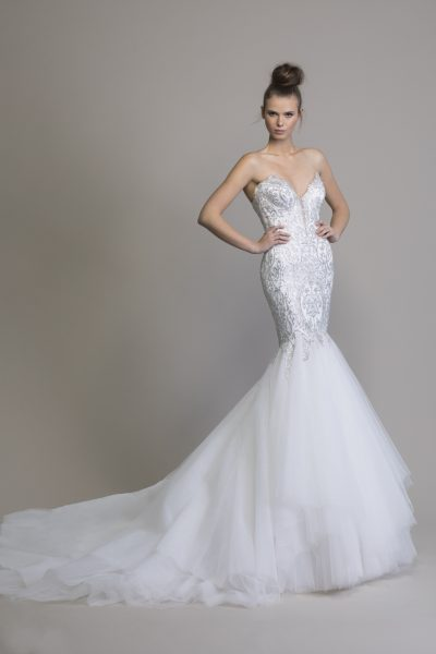Mermaid Embellished Wedding Dress With Tulle Skirt by Love by Pnina Tornai - Image 1