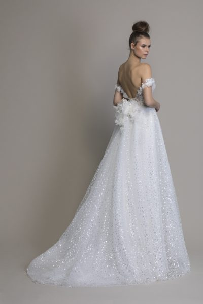 Off The Shoulder A-line Sequin Wedding Dress by Love by Pnina Tornai - Image 2