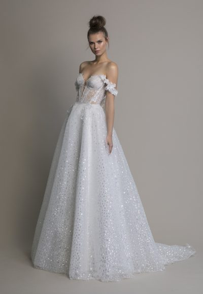 Off The Shoulder A-line Sequin Wedding Dress by Love by Pnina Tornai