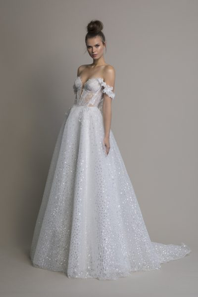Off The Shoulder A-line Sequin Wedding Dress by Love by Pnina Tornai - Image 1