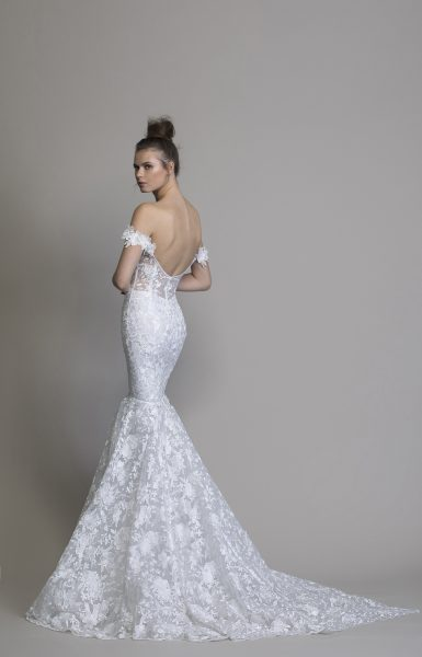 Off The Shoulder Floral Embroidered Mermaid Wedding Dress by Love by Pnina Tornai - Image 2