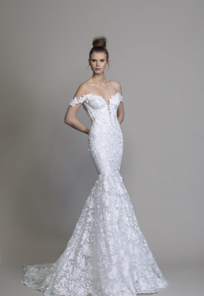 Off The Shoulder Floral Embroidered Mermaid Wedding Dress by Love by Pnina Tornai