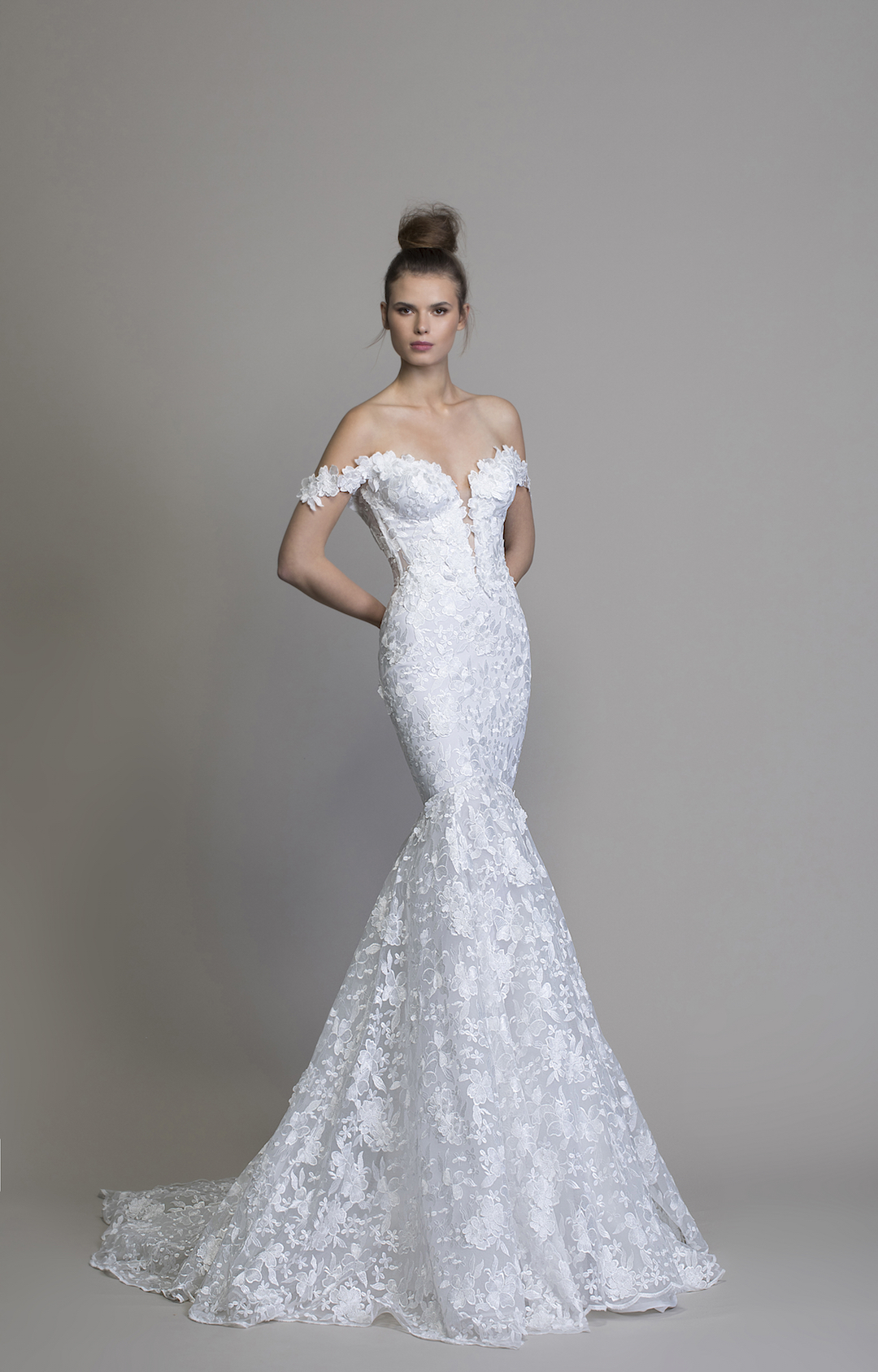 Off The Shoulder Floral Embroidered Mermaid Wedding Dress by Love by Pnina Tornai - Image 1