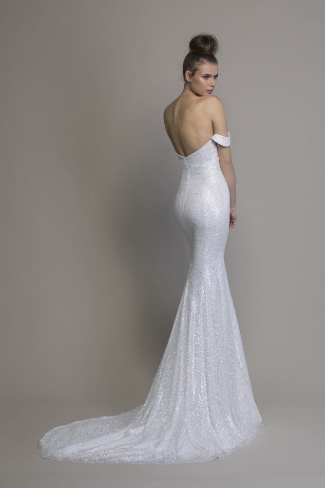 Off The Shoulder Glitter Sheath Wedding Dress by Love by Pnina Tornai - Image 2