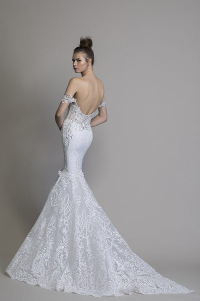Off The Shoulder Guipure Lace Mermaid Wedding Dress With Crystal Applique by Love by Pnina Tornai - Image 2