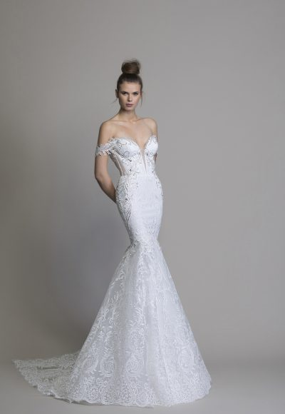 Off The Shoulder Guipure Lace Mermaid Wedding Dress With Crystal Applique by Love by Pnina Tornai