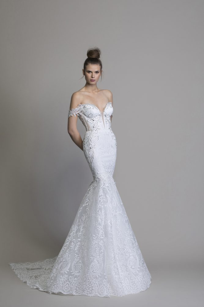 Off The Shoulder Guipure Lace Mermaid Wedding Dress With Crystal Applique by Love by Pnina Tornai - Image 1