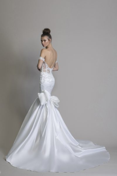 Off The Shoulder Satin Mermaid Wedding Dress by Love by Pnina Tornai - Image 2
