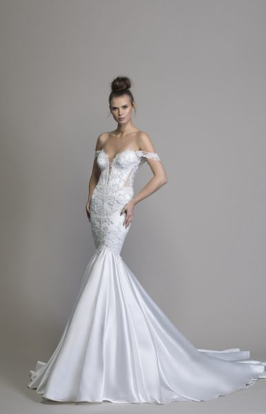 Off The Shoulder Satin Mermaid Wedding Dress by Love by Pnina Tornai - Image 1