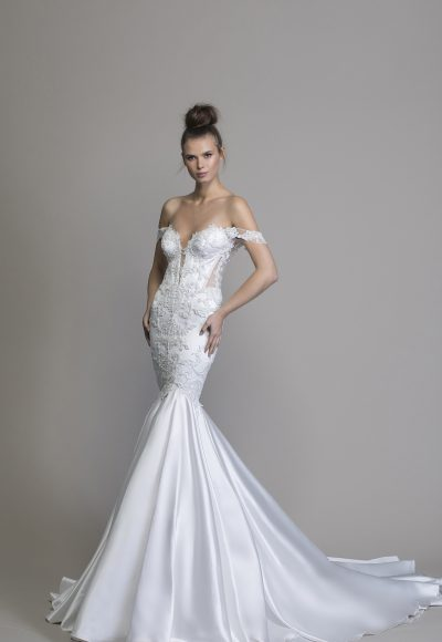 Off The Shoulder Satin Mermaid Wedding Dress by Love by Pnina Tornai