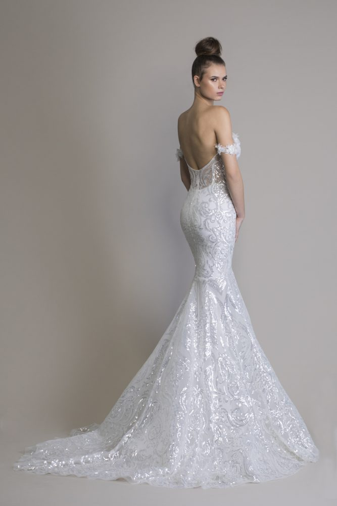 Off The Shoulder Sequin Mermaid Wedding Dress by Love by Pnina Tornai - Image 2