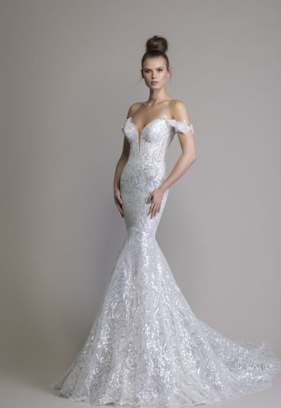 Off The Shoulder Sequin Mermaid Wedding Dress by Love by Pnina Tornai