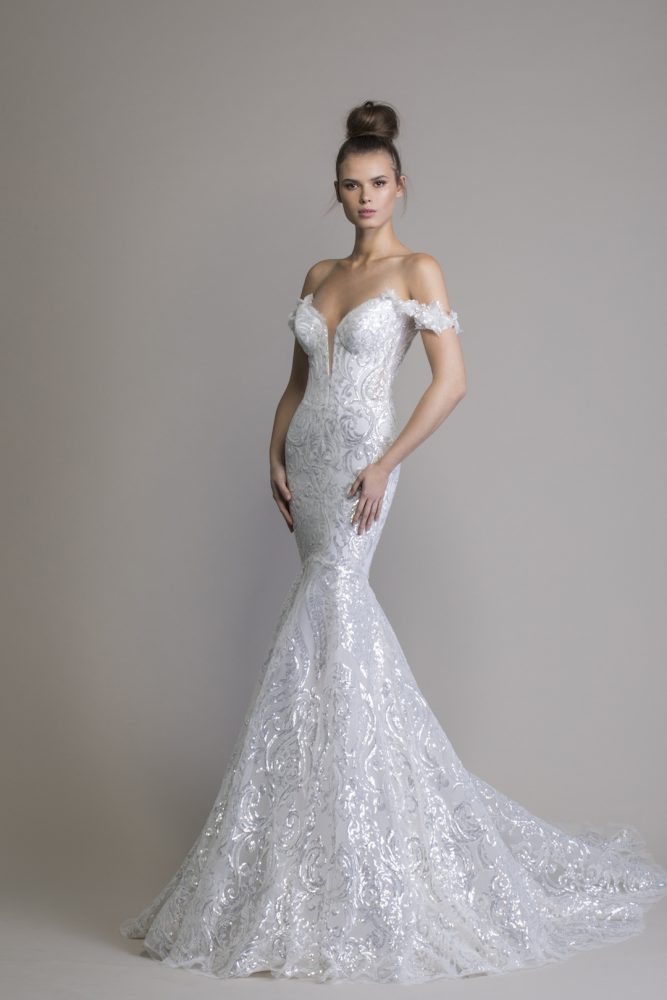 Off The Shoulder Sequin Mermaid Wedding Dress by Love by Pnina Tornai - Image 1