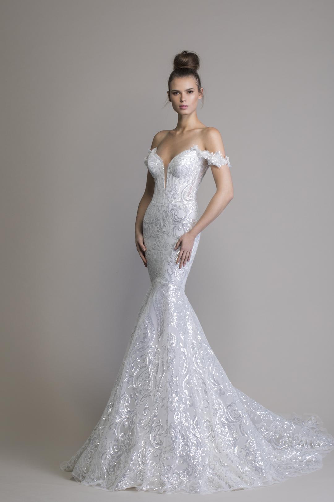 Off The Shoulder Sequin Mermaid Wedding Dress