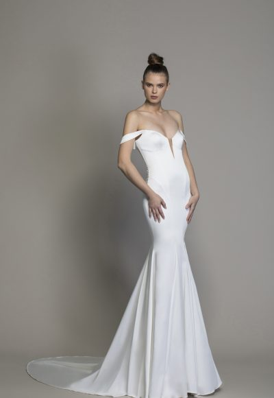 Satin Off The Shoulder Sheath Wedding Dress by Love by Pnina Tornai