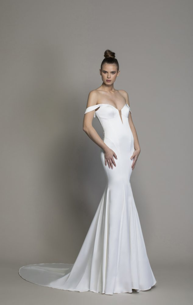 Satin Off The Shoulder Sheath Wedding Dress by Love by Pnina Tornai - Image 1
