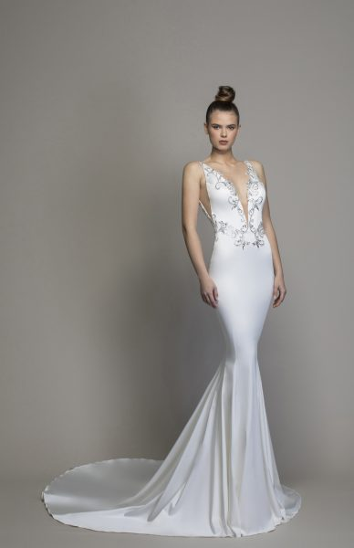 Satin Sheath With Embellishments And Cutouts by Love by Pnina Tornai - Image 1
