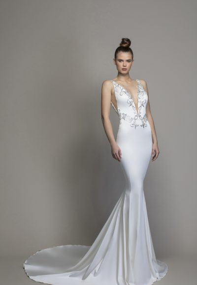 Satin Sheath With Embellishments And Cutouts by Love by Pnina Tornai