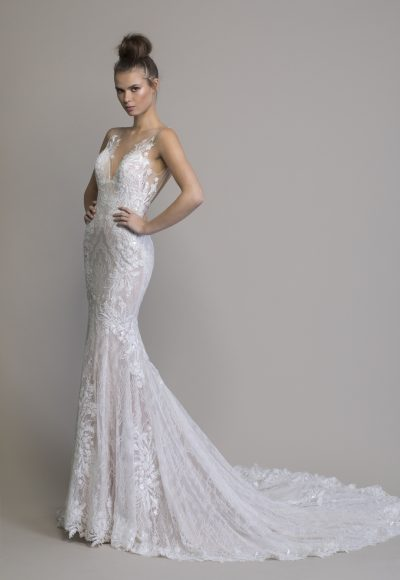 Sheath Embellished Wedding Dress With Chantilly Lace by Love by Pnina Tornai