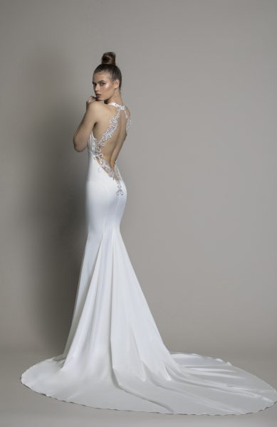 Sheath Satin V-neck Wedding Dress by Love by Pnina Tornai - Image 2