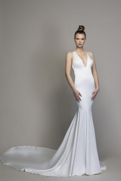 Sheath Satin V-neck Wedding Dress by Love by Pnina Tornai - Image 1