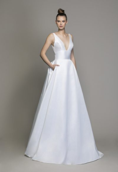 Silk Machado A-line Wedding Dress With V-neckline And Bow At Waist by Love by Pnina Tornai