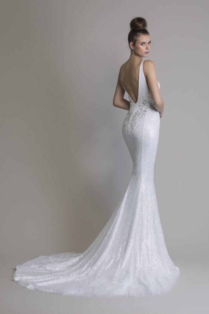 Sleeveless Glitter Sheath V-neck Wedding Dress by Love by Pnina Tornai - Image 2