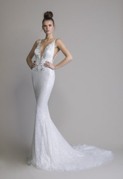 Sleeveless Glitter Sheath V-neck Wedding Dress by Love by Pnina Tornai