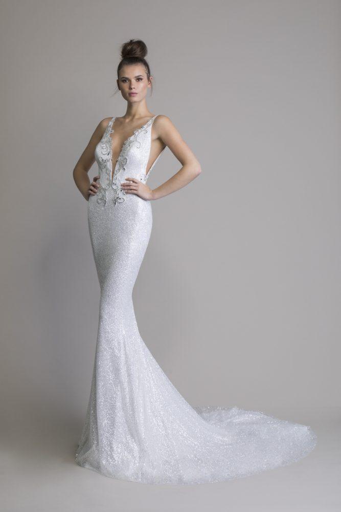 Sleeveless Glitter Sheath V-neck Wedding Dress by Love by Pnina Tornai - Image 1