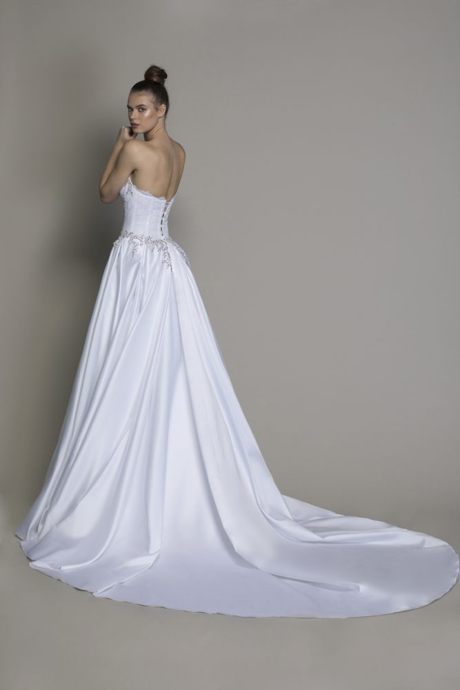 Strapless Ball Gown Wedding Dress With Crystal And Lace Bodice by Love by Pnina Tornai - Image 2