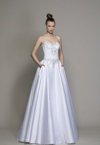 Strapless Ball Gown Wedding Dress With Crystal And Lace Bodice by Love by Pnina Tornai