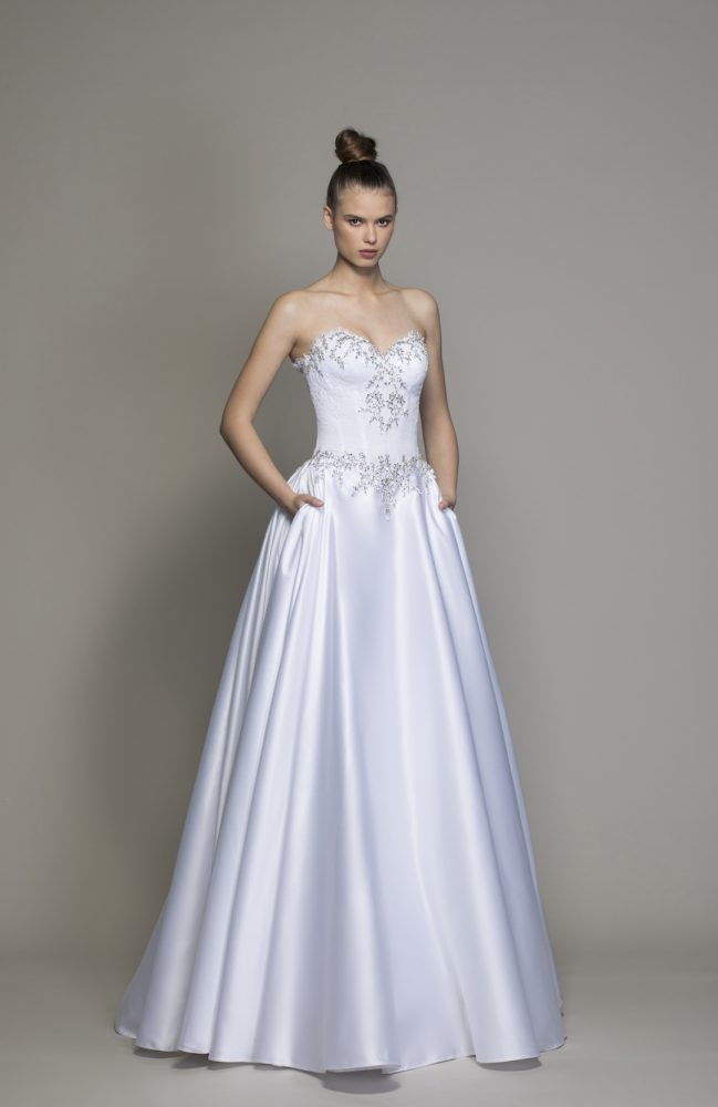 Strapless Ball Gown Wedding Dress With Crystal And Lace Bodice by Love by Pnina Tornai - Image 1