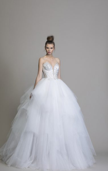 Strapless Beaded Tulle Skirt Ball Gown by Love by Pnina Tornai - Image 1