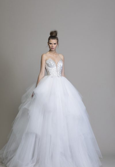 Strapless Beaded Tulle Skirt Ball Gown by Love by Pnina Tornai