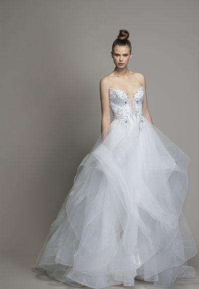 Strapless Textured Skirt Ball Gown by Love by Pnina Tornai