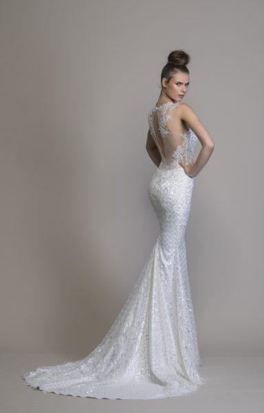 V-neck Sheath Sequin Wedding Dress by Love by Pnina Tornai - Image 2