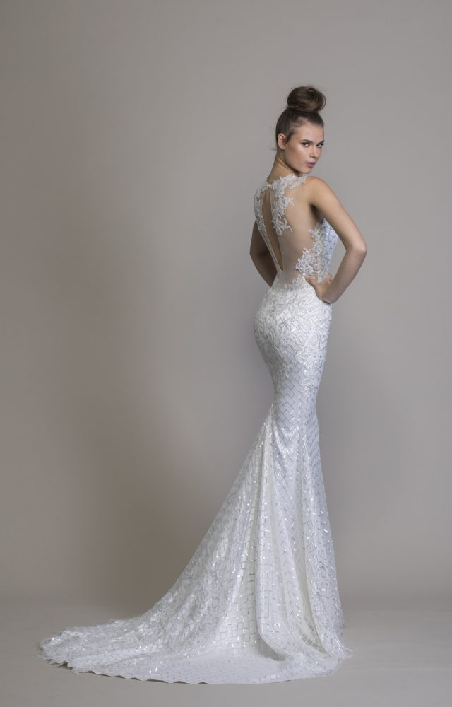 V-neck Sheath Sequin Wedding Dress by Love by Pnina Tornai - Image 2