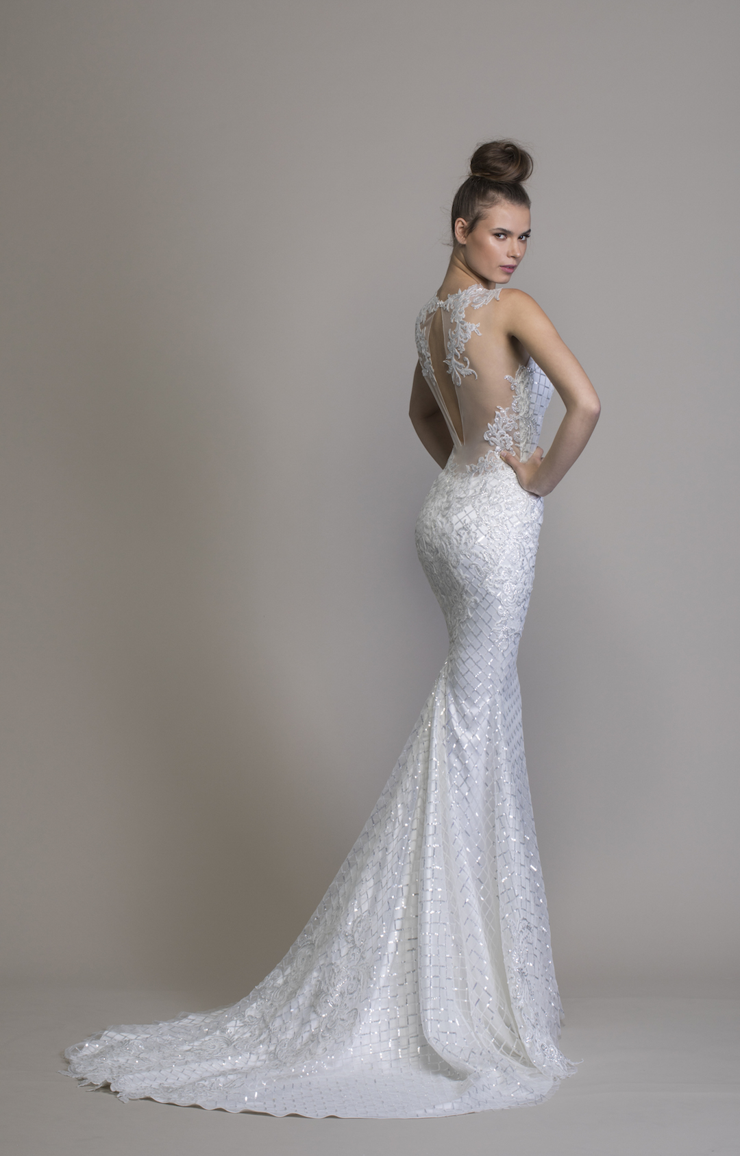 V Neck Sheath Sequin Wedding Dress Kleinfeld Bridal