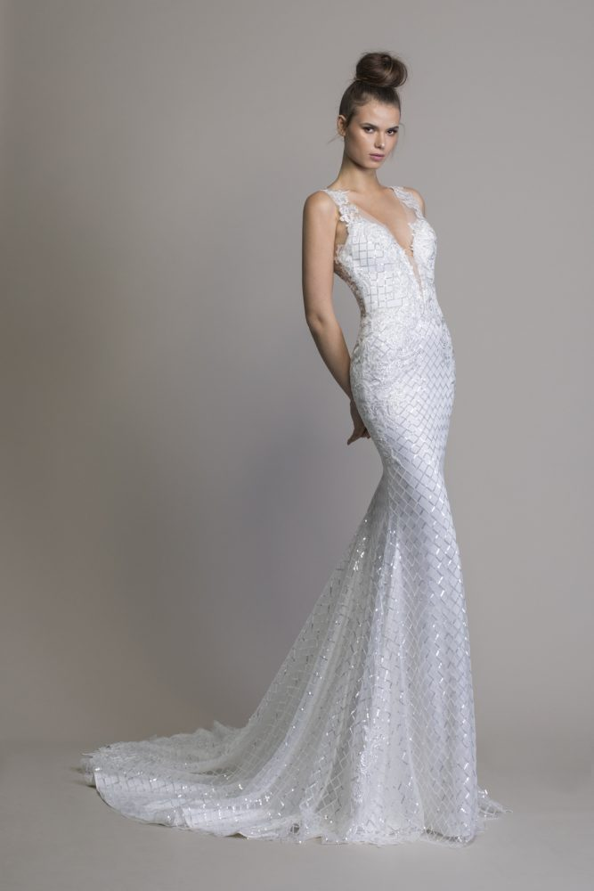 V-neck Sheath Sequin Wedding Dress by Love by Pnina Tornai - Image 1