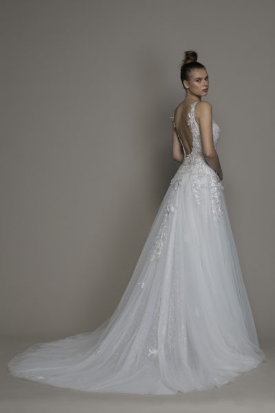 A-line V-neck Tulle Embroidered Wedding Dress by Pnina Tornai - Image 2