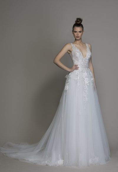 A-line V-neck Tulle Embroidered Wedding Dress by Pnina Tornai