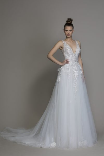 A-line V-neck Tulle Embroidered Wedding Dress by Pnina Tornai - Image 1
